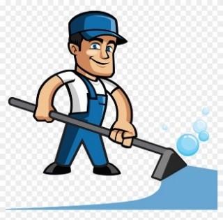 Man steam-cleaning a carpet