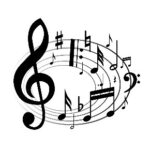 Treble clef with music notes