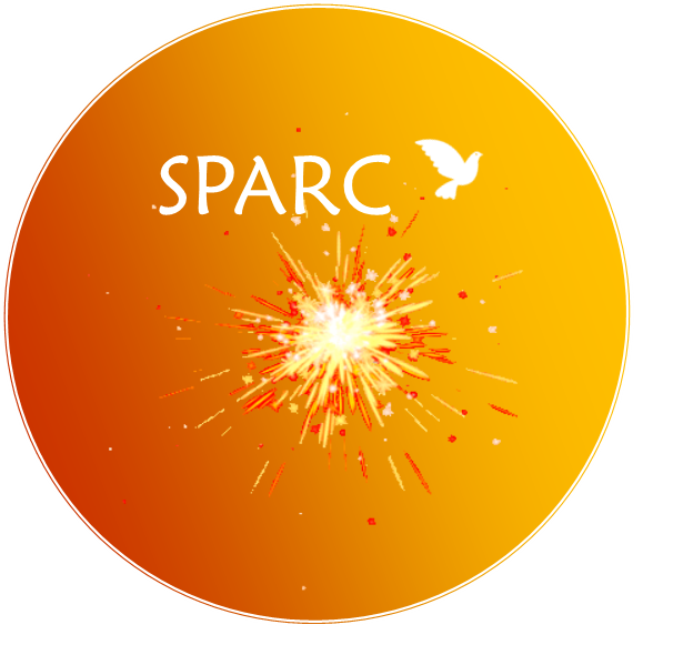 Orange ball with flare and word SPARC