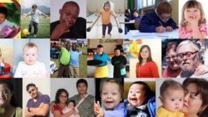Portraits of children and adults with Down Syndrome