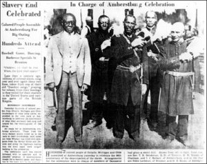 newspaper article reports on the celebrations in Amherstburg, Ontario in 1931