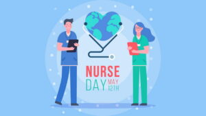 Male and female nurses beside heart-shaped earth with stethoscope
