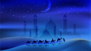 People riding camels across a desert with a crescent moon