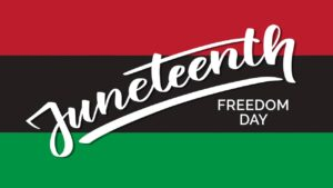 "red, black and green stripes with ""Juneteenth"" writing"