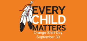 "Two feathers with ""Every child matters"""