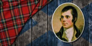 Protrait of Robert Burns superimposed over a Scottish flag and tartan
