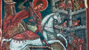 Saint George riding a white horse