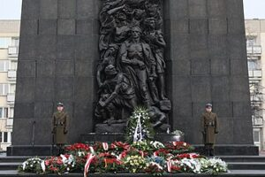 A commemoration ceremony in Warsaw, in front of the Monument to the Ghetto Heroes